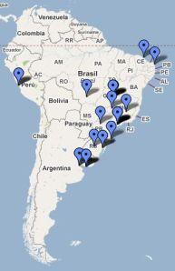 """Veja como está o """"Mapa das Casas de Show da América do Sul"""" até então."""